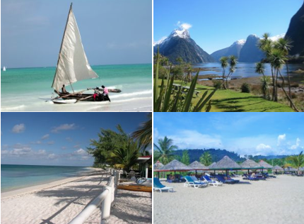Clockwise from top left: Zanzibar, Milford Sound, Turks and Caicos, Langkawi