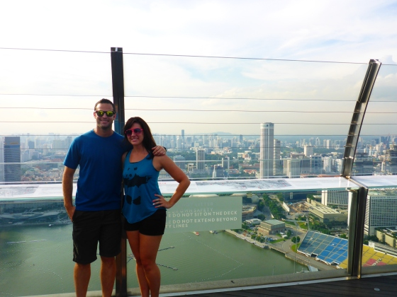 View from the top of the Marina Sands Hotel in Singapore