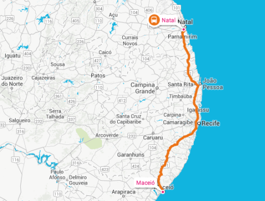Another overnight bus ride from Natal to Maceió: map credit Rome2Rio
