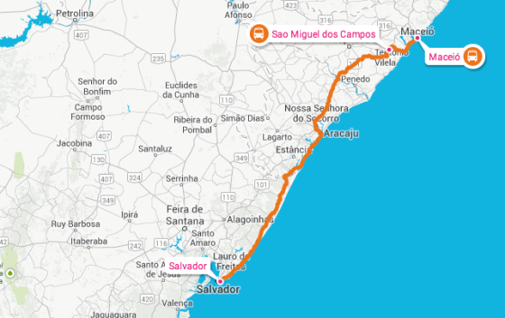 Our 6 hour bus ride from Macéio to Salvador. Map credit: map credit Rome2Rio