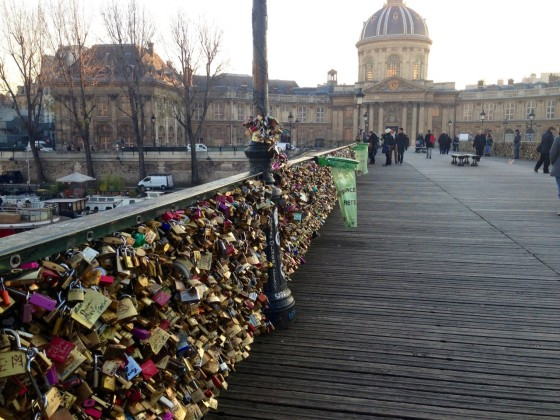 Paris love lock bridge