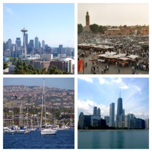 Clockwise from top left: Seattle, Marrakech, Chicago, Newport Harbor