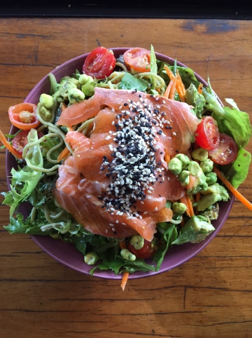 Bruce Leaves' sashimi salmon salad - yes, yes, yes!