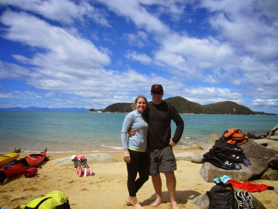 Taking a break from kayaking in Abel Tasman