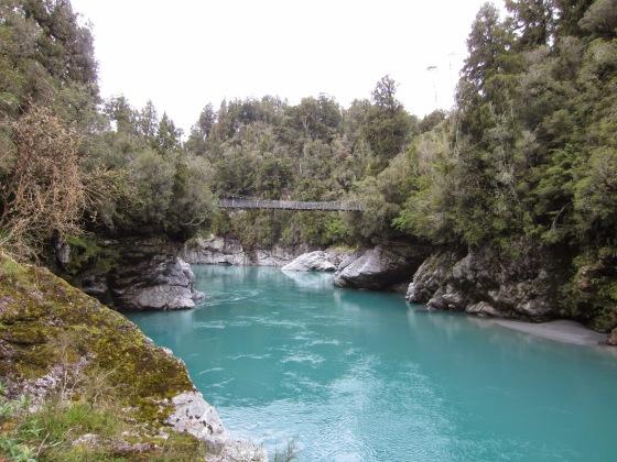 The amazing glacial 'milky' water in Hokitika Gorge
