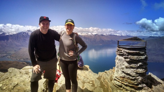 Showing their Bay Area pride at the Ben Lomond summit above Queenstown